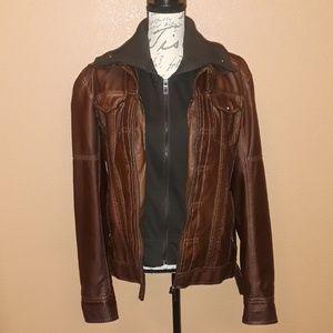 Zara Man faux leather bomber jacket sz L